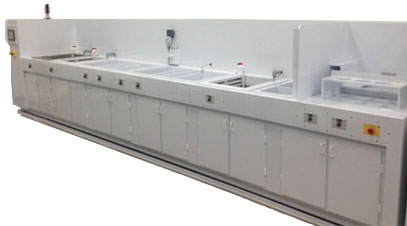 Contents restoration system with multitank prewash, ultrasonic wash, counter flow rinse, spray rinse