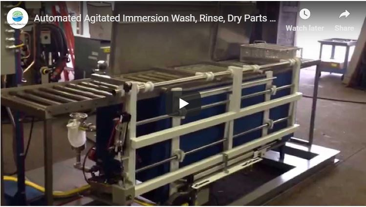 Automated Agitated Immersion Wash, Rinse, Dry Parts Washer