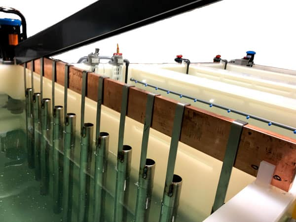 Copper cathodes on large electropolishing system
