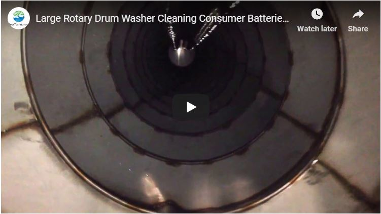 Large Rotary Drum Washer Cleaning Consumer Batteries Cans