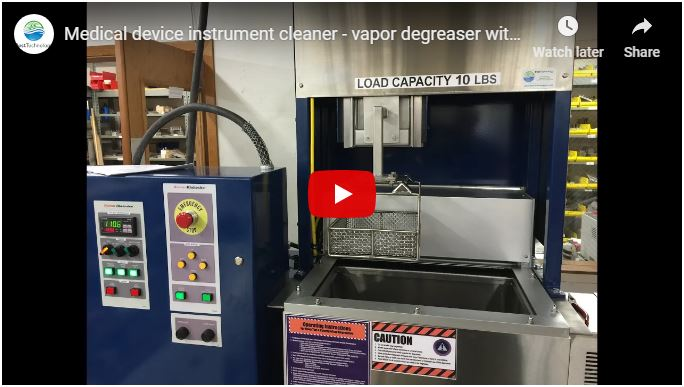 Medical device instrument cleaner - Vapor Degreaser with 3M Novec 72DA