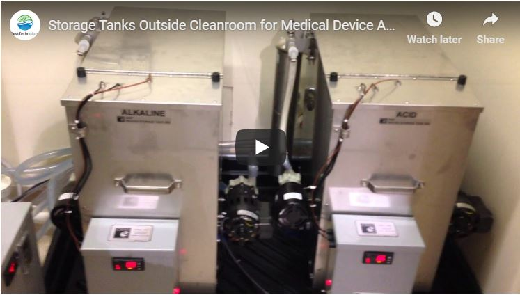 Storage Tanks Outside Cleanroom for Medical Device Automated Passivation System
