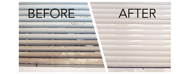 Window blind cleaning with ultrasonics, before and after